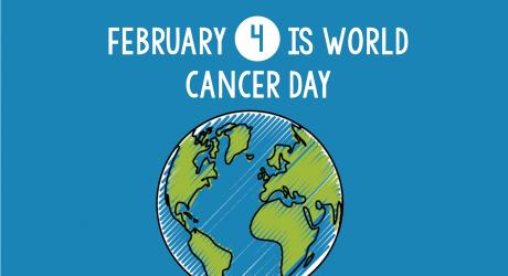 Graphic of the earth with the words World Cancer Day above it