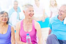 Elder people are doing physical activity