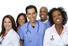 Doctors are standing and smiling