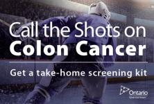 Call the Shots on Colon Cancer sign with hockey player image in background.