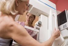 Woman screening for breast cancer